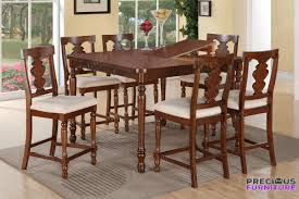 Poundex F2425 7 Piece Cherry Wood Counter Height Dining Set Leaf