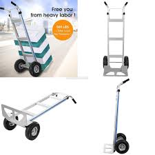NEW ALUMINUM DOLLY Hand Truck With Large Capacity 500/110 Lbs Heavy ...
