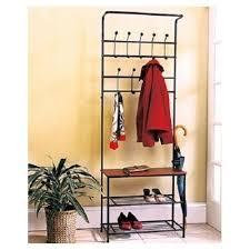 Entryway Storage Bench Valet With Coat Rack Hanger Shoe Shelves