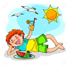 Kid Enjoying Summer With Fruit And Juice Stock Vector
