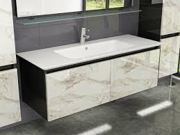 badmöbel set schwarz weiss marmor optik hochglanz badezimmermöbel 120 badmöbel cobra