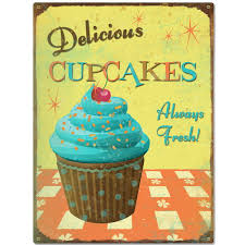 Delicious Cupcakes Kitchen Metal Sign