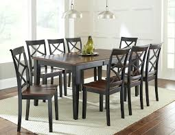 Black And Brown Dining Table Silver 9 Piece Set With Two Tone Top