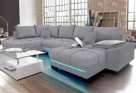 via wohnlandschaft wahlweise mit kaltschaum 140kg belastung sitz mit rgb led beleuchtung bluetooth soundsystem und bettfunktion
