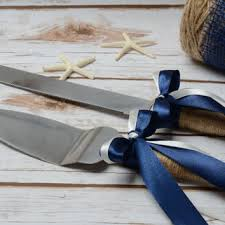 Rustic Cake Cutting Set Wedding Nautical Knife Navy Blue Serving Decoration