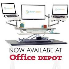 versa standing desk now available at office depot
