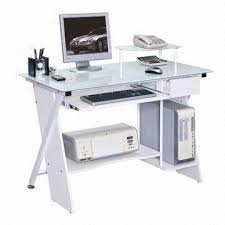Tempered Glass Computer Desk by China Computer Desk With Tempered Glass Tabletop And Cpu Storage