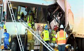 Tour Bus Slams Into Truck On Slowed-down I-10, Killing 13 | The ... Accident Snarls Traffic On Sb 15 Freeway Wednesday Night Victor More Tough Tesla Headlines This Week Cluding Troubling Video Trophy Truck Crash On Finish Line At Baja 1000 2017 Youtube Slams Into Fire Truck Stopped Red Light In Utah Las Vegas Witness Called 911 Twice Before Fatal Dump Medium Duty Multiple People Killed When Tour Bus Collides With Semitruck Weekend Mojave Offroad Race Approved Following Deadly Crash Nbc Video Drowsy Driving Leads To Nevada Memorial Ride Fundraiser Happening Today For Local Woman Daughter 8 Dead 12 Hurt Calif Desert Southern 395 California Stock Photos