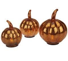 Glass Blown Pumpkins by Set Of 3 Mercury Glass Pumpkins With Timer By Valerie Page 1