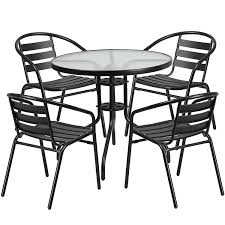 Flash Furniture 31.5'' Round Glass Metal Table With 4 Black Metal Aluminum  Slat Stack Chairs Jack Daniels Whiskey Barrel Table With 4 Stave Chairs And Metal Footrest Ask For Freight Quote Goplus 5 Pcs Black Ding Room Set Modern Wooden Steel Frame Home Kitchen Fniture Hw54791 30 Round Silver Inoutdoor Cafe 0075modern White High Gloss 2 Outdoor Table Chairs Metal Cafe Two Stock Photo 70199 Alamy Stainless 6 Arctic I Crosley Kaplan 4piece Patio Seating Oatmeal Cushion Loveseat 2chairs Coffee Rustic And Pieces Glass Tabletop Diy Patterns Pads Brown Tufted Target Grey