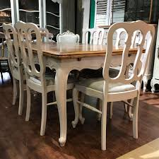 Vintage French Draw Leaf Painted Dining Table And Chairs - Antique ...