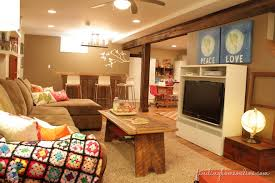 narrow basement family room ideas details bright lshaped couch