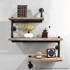 Amazon Industrial Pipe Shelving Bookshelf Rustic Modern Wood Ladder Wall Shelf 3 Tiers Wrought IronPipe Design Diy Kitchen