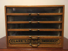 ANTIQUE CLARKS ONT EMBROIDERY GLASS FRONT OAK SPOOL COUNTRY STORE DISPLAY