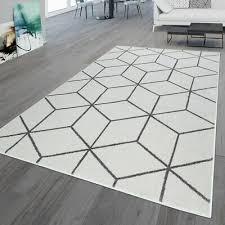 wohnzimmer teppich kurzflor skandinavischer stil rauten