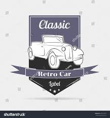 Illustration On The Theme Of A Retro Car Logo Label Blue Black