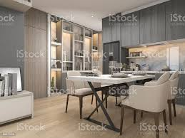 Modern White Kitchen Interior 3d Rendering Stockfoto Und 3d Rendering White Modern And Luxury Design Kitchen With Dining Table And Shelf Stock Photo Image Now