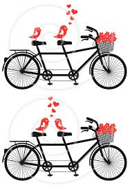 Tandem Bicycle With Cute Love Birds Wedding Invitation Engagement