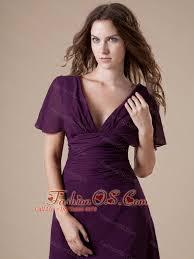 Dark Purple Mother Of The Bride Dress Column Short Sleeves Chiffon Ruch