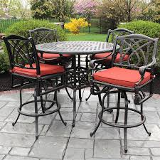 unique bar height outdoor dining table dumont 5 piece all weather