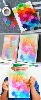 Kids Craft Tissue Painted Canvases Finished Canvas Art