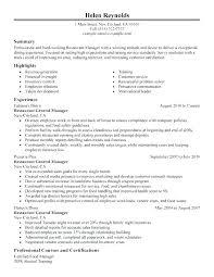 Assistant General Manager Cover Letter Restaurant Resume Sample