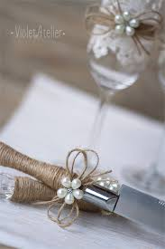 Rustic Wedding Set Cake Cutter Toasting Flutes Pearls Twine