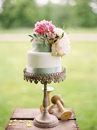 Wedding Cake With Fresh Flowers Pink And White Peonies On A Wooden Box Rustic