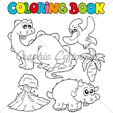 Coloring Book With Dinosaurs 2 Vector Illustr