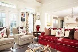 Red Couch Decor With Polyester Fill Decorative Pillows Family Room Traditional And Open Shelves