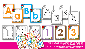 Free Printable Alphabet Mini Flash Card Set Black White And Color