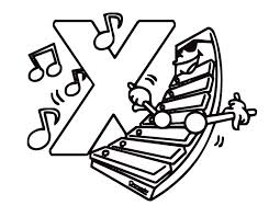 Xylophone Printable Free Alphabet Coloring Pages