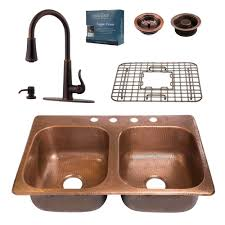 Pfister Faucets Home Depot by Sinkology Pfister All In One Copper Kitchen Sink 33 In 4 Hole