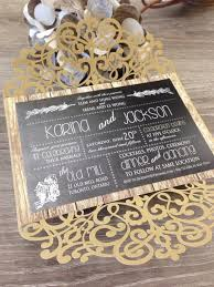 Rustic Gold Gatefold Laser Cut And Woodgrain Mixed Typography Wedding Invitation 0106