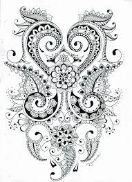 American Hippie Zentangle Coloring Page Art Paisley Flowers