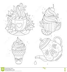 Royalty Free Vector Download Coloring Page Set Cupcake Ice Cream