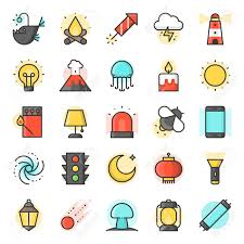 100 Daily Source Light Source From Natural And Daily Life Icon Such As Traffic