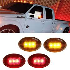 100 Truck Marker Lights Clear Or Smoked Lens AmberRed LED Rear Bed Side Set For Ford F350 F450 Super Duty Double Wheel Side Fenders