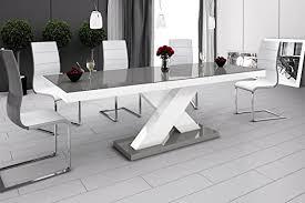 furniture24 design esstisch xenon ausziehbar 160 208 cm hochglanz acryl tisch küchentisch x bein grau hochglanz weiß grau hochglanz