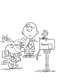 Charlie Brown And Valentines Day Coloring Pages For Kids Printable Free