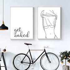 zdfdc schwarz weiß linie weiblicher körper nackte frauen malen auf leinwand poster und drucke wandbild für schlafzimmer wohnzimmer