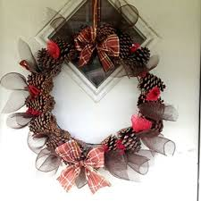 Christmas Brown Plaid Real Pinecone And Deco Mesh Wreath With Matching Tree