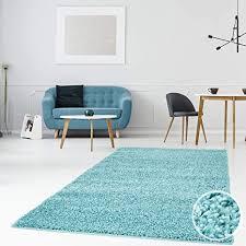 myshop24h hochflor shaggy teppiche langflor teppich einfarbig modern flauschig für wohnzimmer schlafzimmer größe in cm 200 x 290 cm farbe türkis