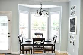 Inspiring Dining Room Tiny Open Area With Dark Table And Simple Bay Window For Curtains Popular
