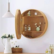 sdk runder badezimmer spiegelschrank badezimmer wand speicherkabinett spiegel medizin kabinett mit holzrahmen 3 ebene color wood color