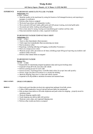 Download Warehouse Packer Resume Sample As Image File