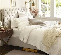 pillow bed frame chesterfield upholstered bed headboard pottery