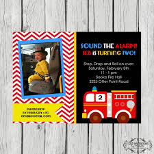 New Firetruck Birthday Photo Invitation – Ellery Designs