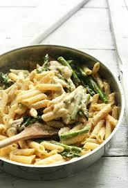 A Pan Of Gluten Free Vegan Creamy Asparagus Mushroom Pasta For Comforting Meal