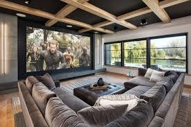 large contemporary open concept home theater medium tone